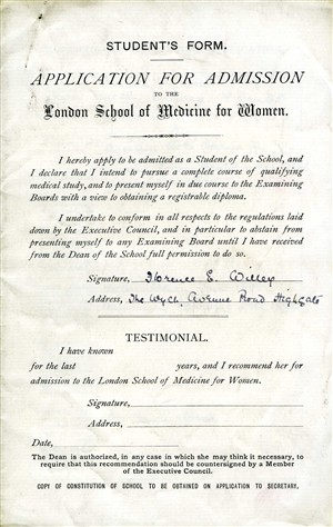 Photo:Florence Willey's application for admission to the London School of Medicine for Women, 1896.